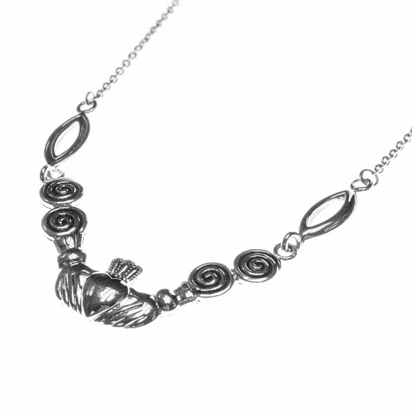Sterling Silver Celtic Claddagh Swirl Necklace
