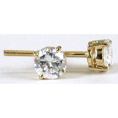 14K Yellow Gold Cubic Zirconia Round 4mm Stud Earrings