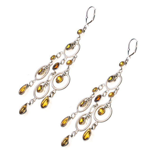 Sterling Silver Citrine Garnet Chandelier Earrings