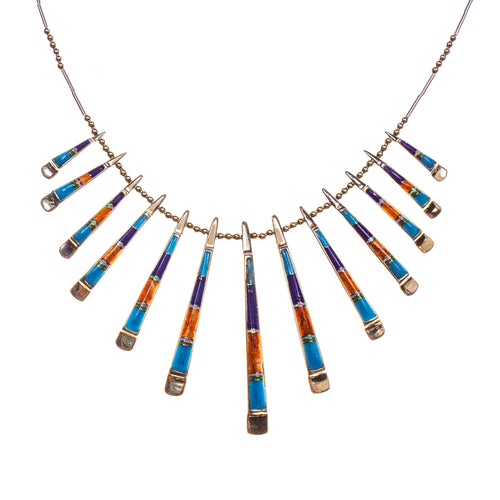 Sterling Silver Lapis and Created Opal Reversible Necklace/Earring Set