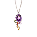 14K Amethyst Spring Leaves Necklace