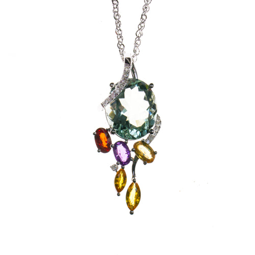 14K Green Amethyst Spring Leaves Necklace