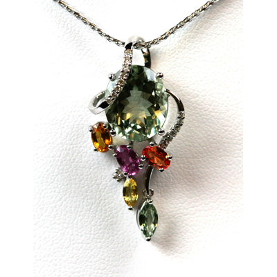 14K White Gold Green Amethyst Sapphire Necklace