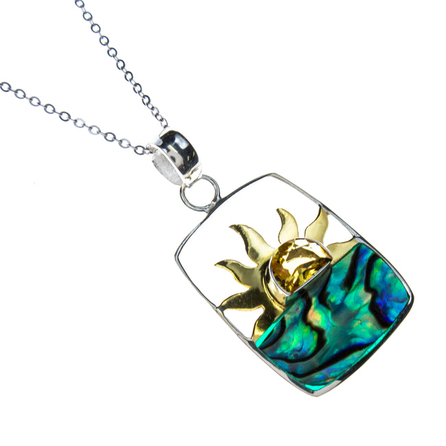 Sterling Silver Vermeil Abalone Shell Sun Necklace