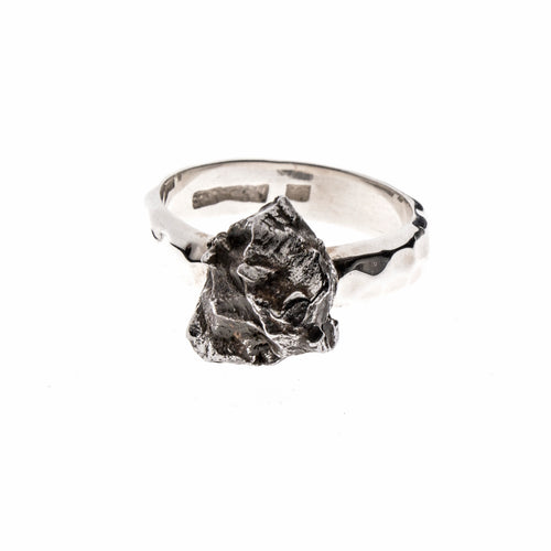 Sterling Silver Meteorite Nugget Ring Size 7