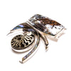 SS Pyritized Ammonite, Rutilated Stone & Abalone Shell Pin/Pendant