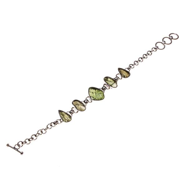 Sterling Silver 5 Moldavite Nugget Toggle Bracelet