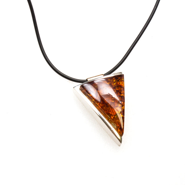 SS Amber Triangle Corded Necklace