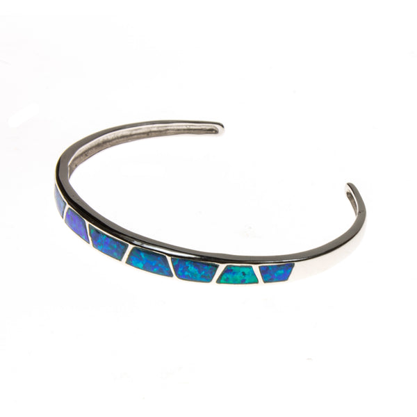 Sterling Silver Created Blue Opal Slash Bangle