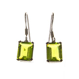 Sterling Silver Created Peridot Rectangle Earrings