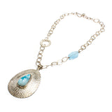 SS Larimar Pear Cobblestone Texture Necklace