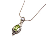 SS Peridot Oval Rope Necklace