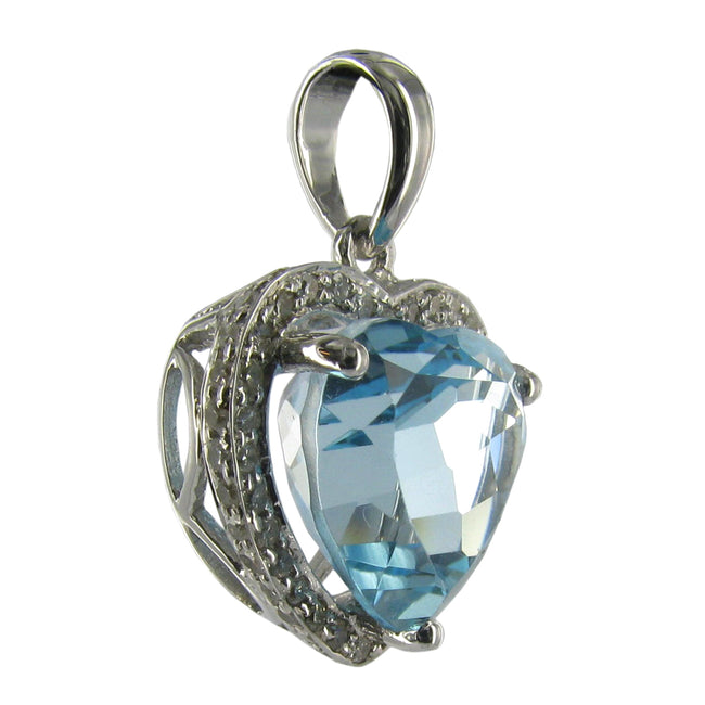 14K White Gold Blue Topaz Heart Necklace
