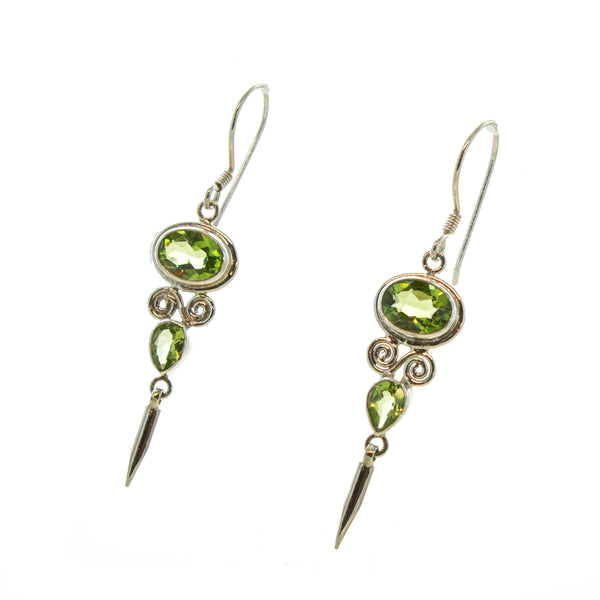 SS Pointed Peridot Dangle Earrings
