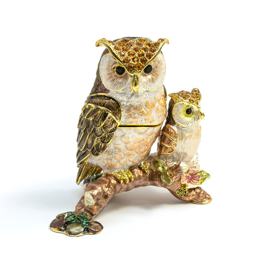 Cloisonne Box Mama & Baby Owl with Matching Necklace