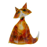 Art Glass Cat Orange Tabby