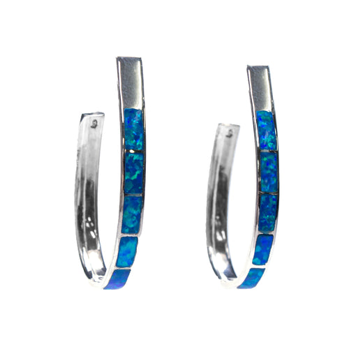 Sterling Silver Created Opal Inlay Hoop Earrings