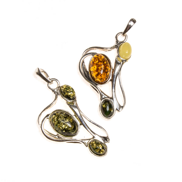 SS Tangled Amber Ovals Pendant