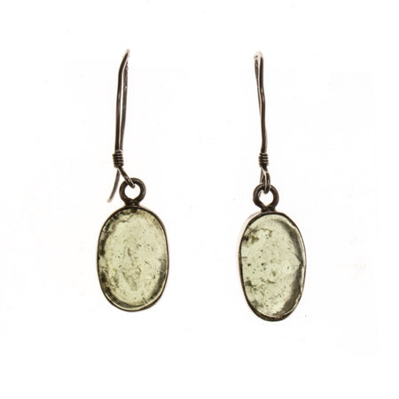 Sterling Silver Large Moldavite Oval Earrings