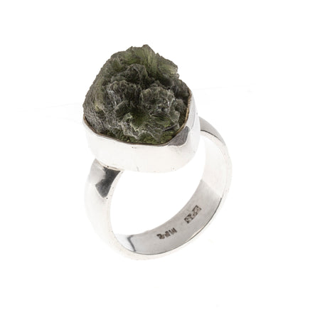 Sterling Silver Backed Meteorite Ring Size 8