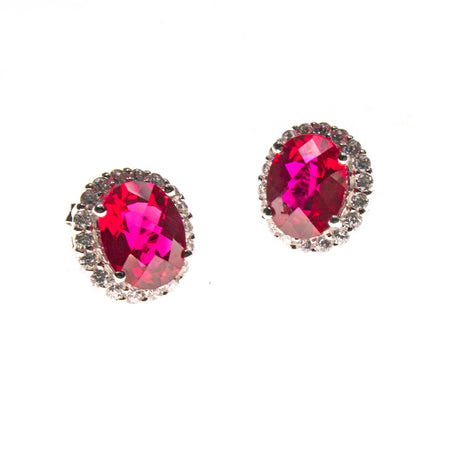 Sterling Silver Created Ruby & CZ Pear Earrings