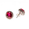 Sterling Silver Ruby Checkerboard Cut and CZ Stud Earrings