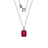 Sterling Silver Created Ruby Rectangle Necklace