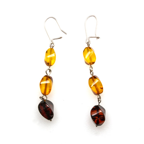 SS Amber 3-tone Twisted Bead Dangle Earrings