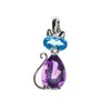 14K Amethyst and Blue Topaz Cat Pendant