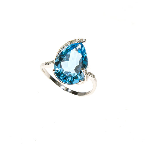14KW Blue Topaz Pear Ring
