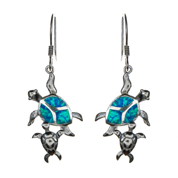 Sterling Silver Created Opal Turtle Mama with Baby Earrings