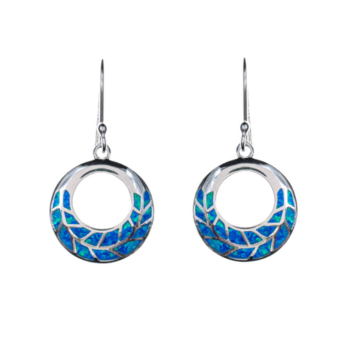 Sterling Silver Created Opal Inlay Earrings