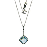 14K White Gold Blue Topaz Square Necklace