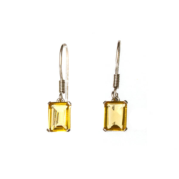 SS Small Created Citrine Rectangle Earrings