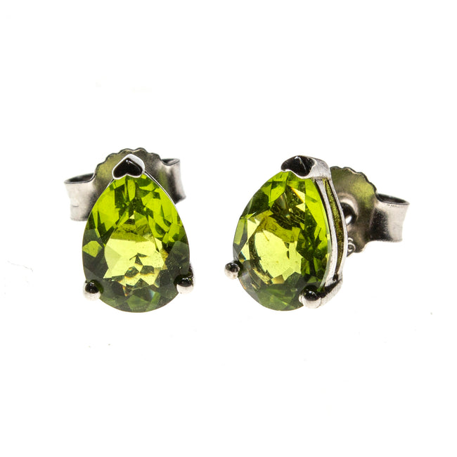 SS Created Peridot Pear Stud Earrings