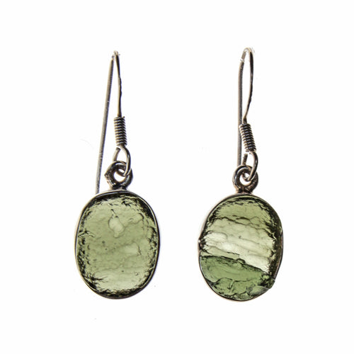 Sterling Silver Moldavite Bezel Earrings