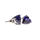 SS Created Tanzanite Heart Studs