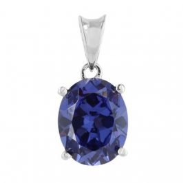 Sterling Silver Created Tanzanite Oval Pendant