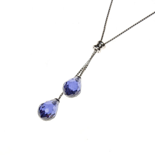 SS Created Tanzanite Lariat Necklace