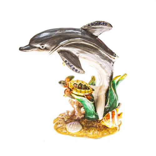 Dolphin and Sea Turtle Scene Cloisonné Box with Matching Necklace