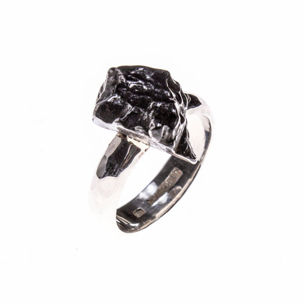 Sterling Silver Meteorite Nugget Ring Size 8