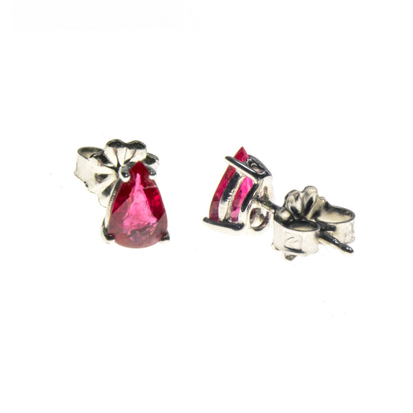 14K White Gold Ruby Pear Stud Earrings