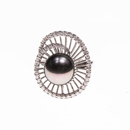 14KW 10mm Tahitian Pearl Swirl Ring