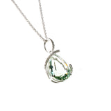 14K Green Amethyst Teardrop Necklace