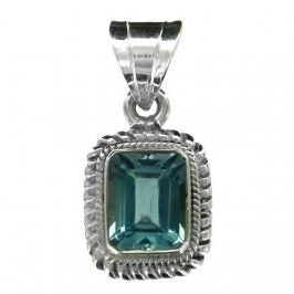 Sterling Silver Blue Topaz Rectangle Rope Pendant