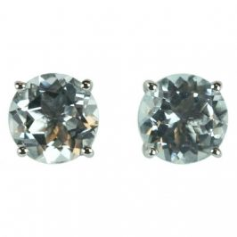 14K White Gold Aquamarine Round 6mm Stud Earrings