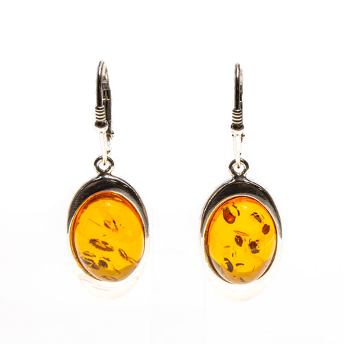 SS Orange Amber Oval Drop Earrings