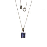 SS Created Tanzanite Rectangle Necklace