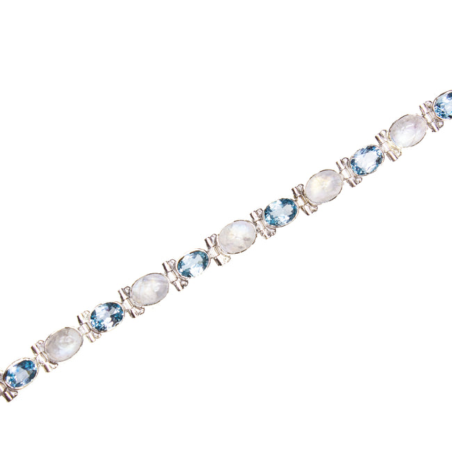 SS Blue Topaz & Rainbow Moonstone Oval Toggle Bracelet