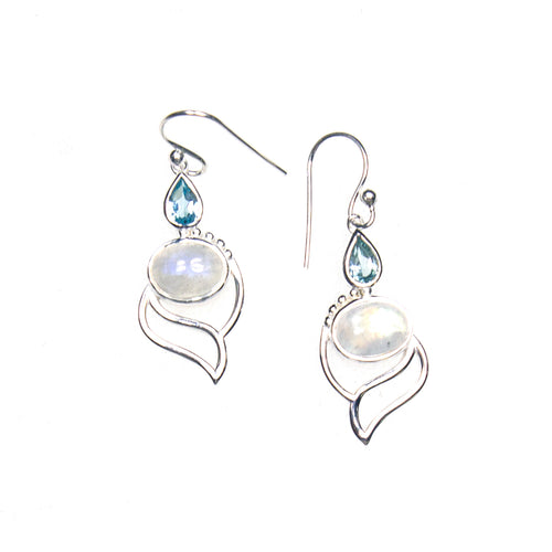 SS Blue Topaz Pear & Rainbow Moonstone Oval Flame Earrings